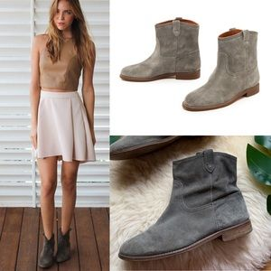 Madewell💕Gray Blue Suede Otis Ankle Booties